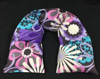 Neck Heating Pad, Corn Neck Warmer, Microwavable Neck Wrap, Heat Therapy Wrap, Massage Neck Wrap, Gift for Her - Flower Shower Purple
