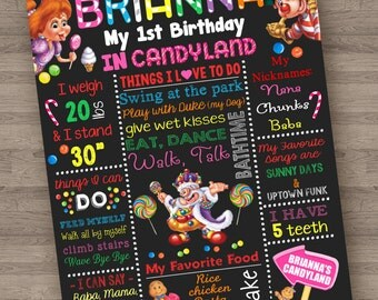 Candyland Game Girl Theme Chalkboard Poster Birthday Custom Printable Board 16x20 1st 2nd 3rd 4th
