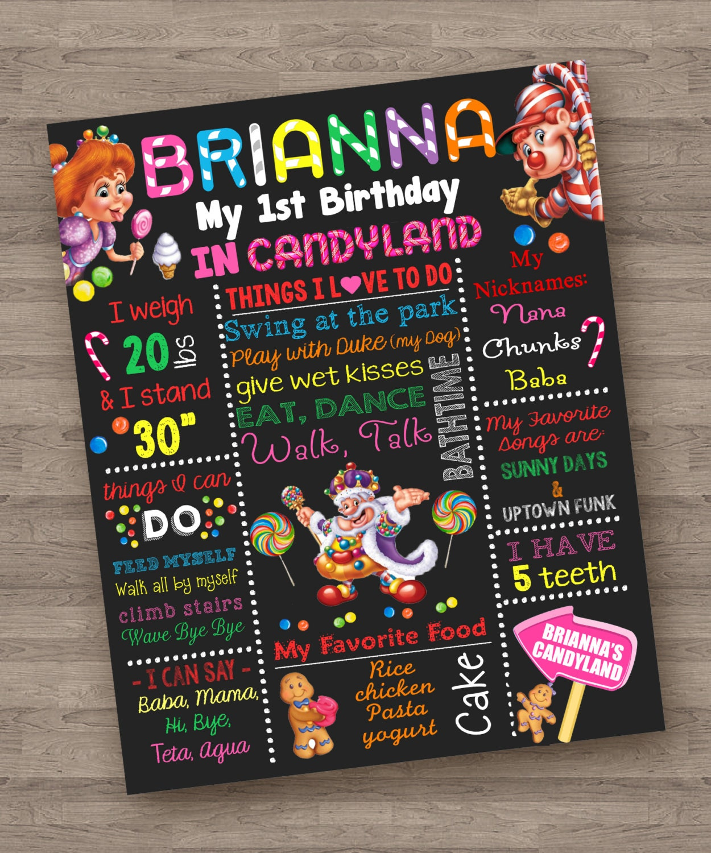 Candyland Game Girl Theme Chalkboard Poster Birthday Custom
