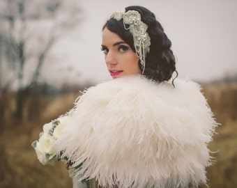 Wedding Bolero, Ostrich Feather Wedding or Evening Jacket, Custom, White, Winter White, Handmade in USA