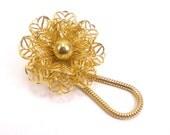 Gold Filigree Flower Brooch Pin Eye Glasses Id Badge Holder