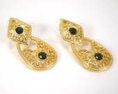 Gold Filigree Black Rhinestone Dangle Pierced Earrings Vintage Jewelry