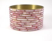 Brass Mop Bracelet , Pink Mother Of Pearl Mosaic Tile Bracelet , Vintage Jewelry ,  Boho Hippie Trends