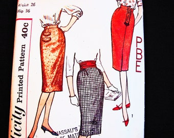 1950s Skirt Pattern Vintage Simplicity Pattern Misses Waist 26 UNCUT One Yard Skirt Simple to Sew with Monogram Transfer
