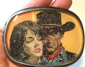 RESERVED FOR HEATHER belt buckle vintage cowboy cowgirl pulp fiction repurposed book cover