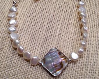 Natural Abalone Shell Bracelet White Freshwater Pearl Bracelet Adjustable Sterling Silver Chain Blue Green Pink Aqua Beach Bracelet