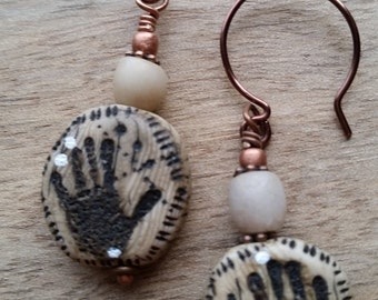 Ancient Artifact Tiny Handprint Earrings Handmade Polymer Clay Faux Ivory Antiqued Copper Ear Wires