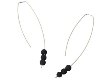 monochrome earrings, recycled sterling silver with 3 black stones by Frank Ideas