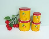 Miniature Toy Kitchen Canisters with Cherries, Made by Wolverine, Complete Set of 4, Hard to Find, Flour, Sugar, Coffee & Tea