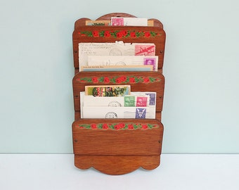 "Handmade Wooden Mail Caddy, Three Tiers with Red Rose Decals, Signed ""Love Dad 1980"" on the Back"