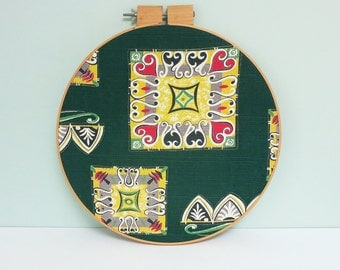 Bark Cloth Fabric Swatch Portrait Large Embroidery Hoop Art, Mid-Century Geometric Abstract Shapes in Green, Yellow, Red, Black & Gray