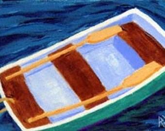 ACEO Print of Original Cape Cod Rowboat Skiff Painting, Renee Rutana
