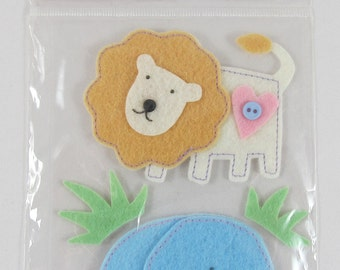 Mark Richards Collections Handmade Felt Stickers - Lion and Elephant #SC010
