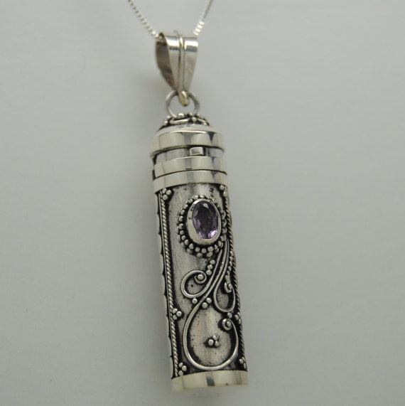amethyst cremation jewelry sterling silver urn necklace
