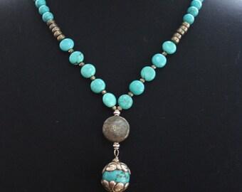 Boho-Spirit Animal-Bear Totem Necklace- Turquoise magnesite-Pyrite