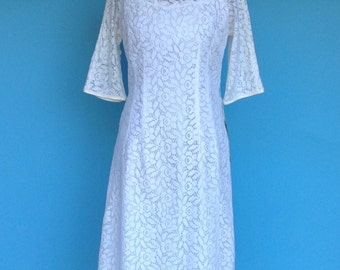 50s Wedding Dress Soft Openwork Cotton Lace Fall Winter Bride S/M