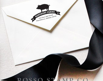 Address Stamp - Custom Stamp - Pig stamp - Return Address Stamp - Personalized Address Stamp - Farm Stamp - Pig Stamp