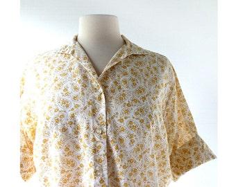 Vintage 1960s Blouse / Golden Paisley Blouse / 60s Top / XL