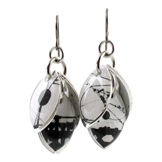 On A Wire Black and White Cluster Earrings