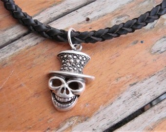 Voodoo Mask Spanish Leather Choker, Hand-braided leather necklace