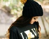 Knit Slouchy Pom Hat in Gold And Black // Mizzou Knit Hat // Handmade Missouri Pride Knit Slouchy Pom Pom Beanie
