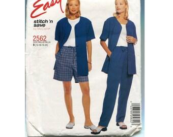 Pattern - Pants, Shorts, Elastic Waist, Short Sleeve Loose Shirt Jacket - McCalls 2562 - Easy - Pull 0n - Misses size 14 16 18 20 - Uncut