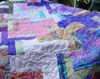 Sale was 220.00 now 180.00   Twin or Double Size Quilt, Batik quilt, 68x84, purples and pinks, and gorgeous batik fabrics, batik queen quilt