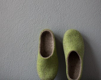 Felted slippers for women Natural organic sand beige fresh green wool house slippers Eco friendly home shoes with soles gift for her