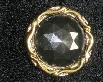 "3 Buttons, 1 1/8"" Round Shiny Black Faceted with Gold Braid Ring, Lightweight, Great Texture, Acrylic Large Coat"