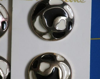 """2 Vintage Buttons, 1"""" Round, Gold, Black and White Enamel"""