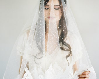 Chantilly Lace Veil, Bridal Veil, Polka Dot Veil, Swiss Dot Veil, French Lace Veil, Drop Lace Veil, Blusher Lace Veil, Two Layer Veil, 1630