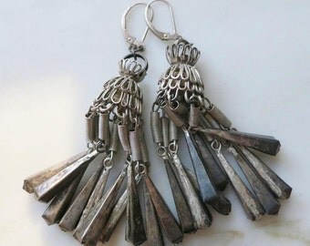 Vintage India Tribal Earrings - Sterling Silver Leverbacks - Kuchi