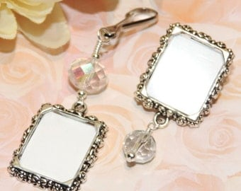 His and Hers photo set. Wedding bouquet photo charm & lapel photo pin. Wedding keepsake gifts for the couple. Crystal Bride and groom gift.