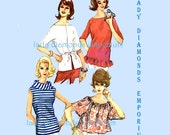 McCalls 5752 Womens Tops Shirt Blouse size 14 Bust 34 Vintage 1960's Sewing Pattern INSTRUCTIONS MISSING