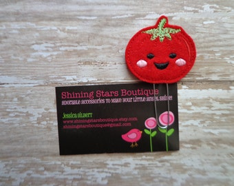Felt Planner Clips - Red Happy Tomato Paper Clip Or Bookmark - Girls Accessory - Vegetable Food Accessories For Books
