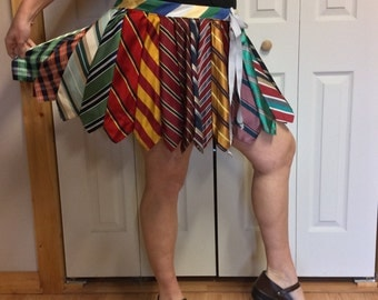 Plus Size Necktie Mini Skirt/Short Silk Skirt/Striped Tie Skirt/Mens Neckties/Upcycled Recycled Repurposed Clothing Made from Ties/Womens 2X