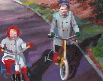 Biking in winter- original art - acrylic painting on mdf- children wall art- Children -jackets- bike