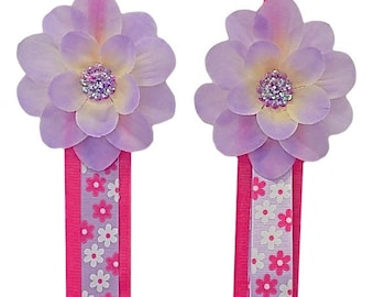 Hair Bow and Headband Holder Hanging Display and Storage  MATCHING SET - Funky Flower Print with Silk Flower  - 3 Feet Long - GIFT for Girls