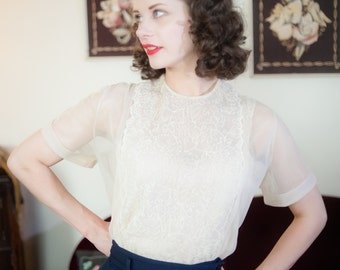 Vintage 1950s Blouse - Exquisite Sheer Ivory Nylon Early 50s Blouse with Swirling Floral Soutache