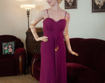 Vintage 1940s Dress - Rare FOGA Fuchsia Crepe Rayon Gown with Bombshell Bodice and Incredible Tassel Drape
