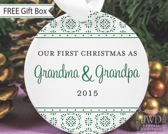 New Grandma and Grandpa Gift New Grandparent First Christmas as Grandparents Personalized Porcelain Ornament - Cyrstalline Pattern-# CRY-G-O