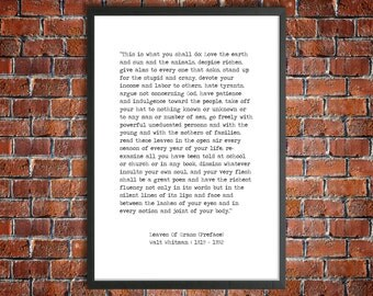 Walt Whitman Instant Download Printable Quote 'This Is What You Shall Do' Digital Literature American Poetry 'Leaves Of Grass' Poster Print