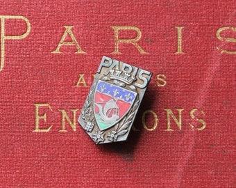 Enamel Souvenir Paris Pin, Vintage French Travel Souvenir, Paris Crest, Paris Souvenirs, French Flea Market
