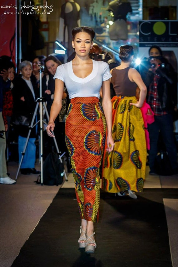 African clothing African skirt African fabric High Waist