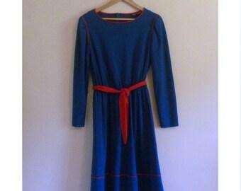 150 - Vintage 70s Teal Belted Dress - Size M