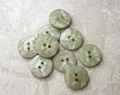 Pastel Green Sewing Buttons 15mm - 5/8 inch Light Sage Green Vintage Buttons - 9 NOS Wacky Square Faceted Retro Luminescent Buttons PL095 bb