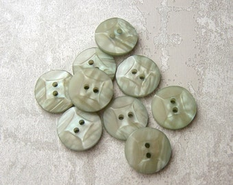 Pastel Green Buttons, 15mm 5/8 inch - Light Sage Green Luminescent Sewing Buttons - 9 VTG NOS Faceted Wacky Square Retro Green Buttons PL095