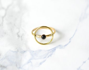 Halo Ring, onyx, brass, gold, thin, dainty, delicate