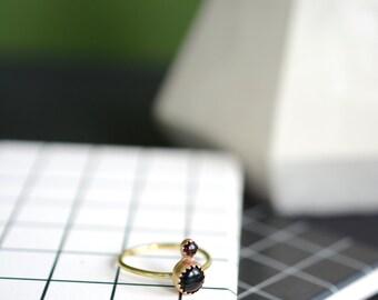 Onyx ring, thin ring, dainty ring, stone ring, black, gold, brass, bezel // IN-ORBIT RING