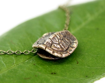 Small Turtle Shell Necklace in Solid Bronze 3D Terrapin Tortoise Shell 2066